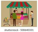 shopping theme clerks and... | Shutterstock .eps vector #500640331
