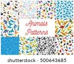 animals and birds seamless... | Shutterstock .eps vector #500643685