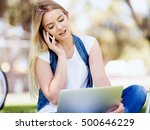 woman working outdoors in a...   Shutterstock . vector #500646229