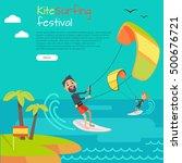 kite surfing festival....   Shutterstock .eps vector #500676721