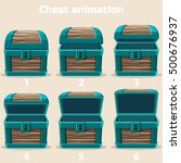 animation wood treasure chest... | Shutterstock .eps vector #500676937