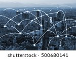 blue city scape and network... | Shutterstock . vector #500680141