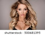 closeup beauty portrait of... | Shutterstock . vector #500681395