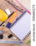 open notebook  free space for... | Shutterstock . vector #500684275