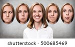 young girl changes her face... | Shutterstock . vector #500685469