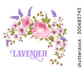 the lavender sign. garland of... | Shutterstock .eps vector #500685745