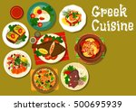 greek cuisine stuffed flounder... | Shutterstock .eps vector #500695939
