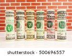 american dollar banknote rolls...   Shutterstock . vector #500696557