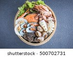 Fresh Seafood In The Basket.