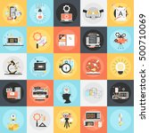 flat conceptual icons set of... | Shutterstock .eps vector #500710069