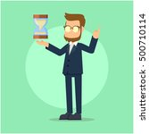 business man with hourglass | Shutterstock .eps vector #500710114