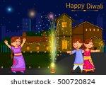 kids enjoying firecracker... | Shutterstock .eps vector #500720824