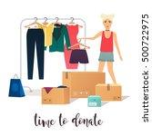 Clothes Donation. Girl Makes...