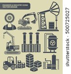engineer and industry icon set... | Shutterstock .eps vector #500725027