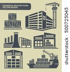 industry icon set clean vector | Shutterstock .eps vector #500725045