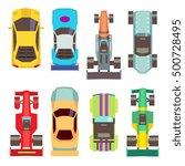 sport race cars top view flat... | Shutterstock .eps vector #500728495