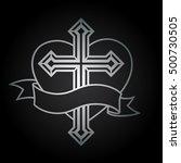 silver religious christian... | Shutterstock .eps vector #500730505