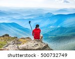 young man on the top of... | Shutterstock . vector #500732749
