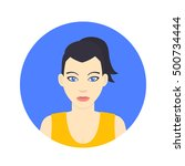 avatar icon  girl in flat style ...