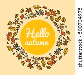 decorative frame with autumn...   Shutterstock .eps vector #500734975