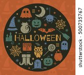 halloween colorful icons set in ... | Shutterstock . vector #500735767