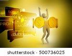 3d illustration of golden coins ... | Shutterstock . vector #500736025
