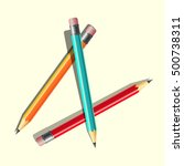 colored pencils set on the table | Shutterstock .eps vector #500738311