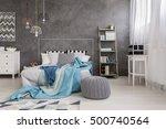 shot of a comfortable bedroom... | Shutterstock . vector #500740564