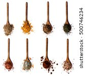 collection of spices in wooden... | Shutterstock . vector #500746234