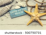 gone to the beach summer... | Shutterstock . vector #500750731