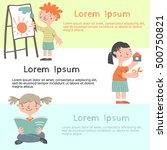happy creative kids making... | Shutterstock .eps vector #500750821
