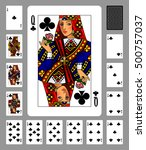 playing cards of clubs suit and ... | Shutterstock . vector #500757037
