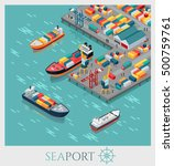 isometric commercial sea port.... | Shutterstock .eps vector #500759761