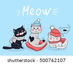 Stock vector funny cats vector concept flat design three cute black and grey cats in scarfs and warm hats 500762107