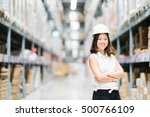 beautiful young asian engineer... | Shutterstock . vector #500766109