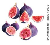 Small photo of Set of Fresh figs with cut pieces isolated on white background macro. Collection with fig fruits