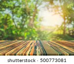 wood table and blur image of... | Shutterstock . vector #500773081