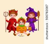 happy halloween. set of cute... | Shutterstock .eps vector #500782087