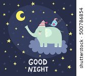 good night card with cute...   Shutterstock .eps vector #500786854