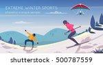 extreme sports activities flat... | Shutterstock .eps vector #500787559