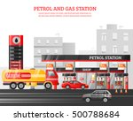 gas and petrol station flat... | Shutterstock .eps vector #500788684