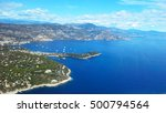view from the airplane window on the Mediterranean Sea, the mountains of the Alps, French Riviera, Cote d'Azur, Nice, France - stock photo