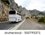 tourist bus on winding road... | Shutterstock . vector #500795371