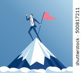 businessman climbed to the top... | Shutterstock .eps vector #500817211