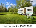 caravan trailer on a green lawn ... | Shutterstock . vector #500827201