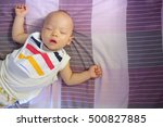 asian baby boy wearing colorful ... | Shutterstock . vector #500827885