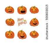 halloween set with pumpkins | Shutterstock .eps vector #500833015