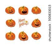 halloween set with pumpkins | Shutterstock .eps vector #500833015