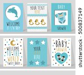 set of 6 cute creative cards... | Shutterstock .eps vector #500837149