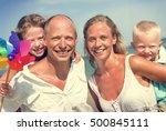 beach family vacation parent... | Shutterstock . vector #500845111